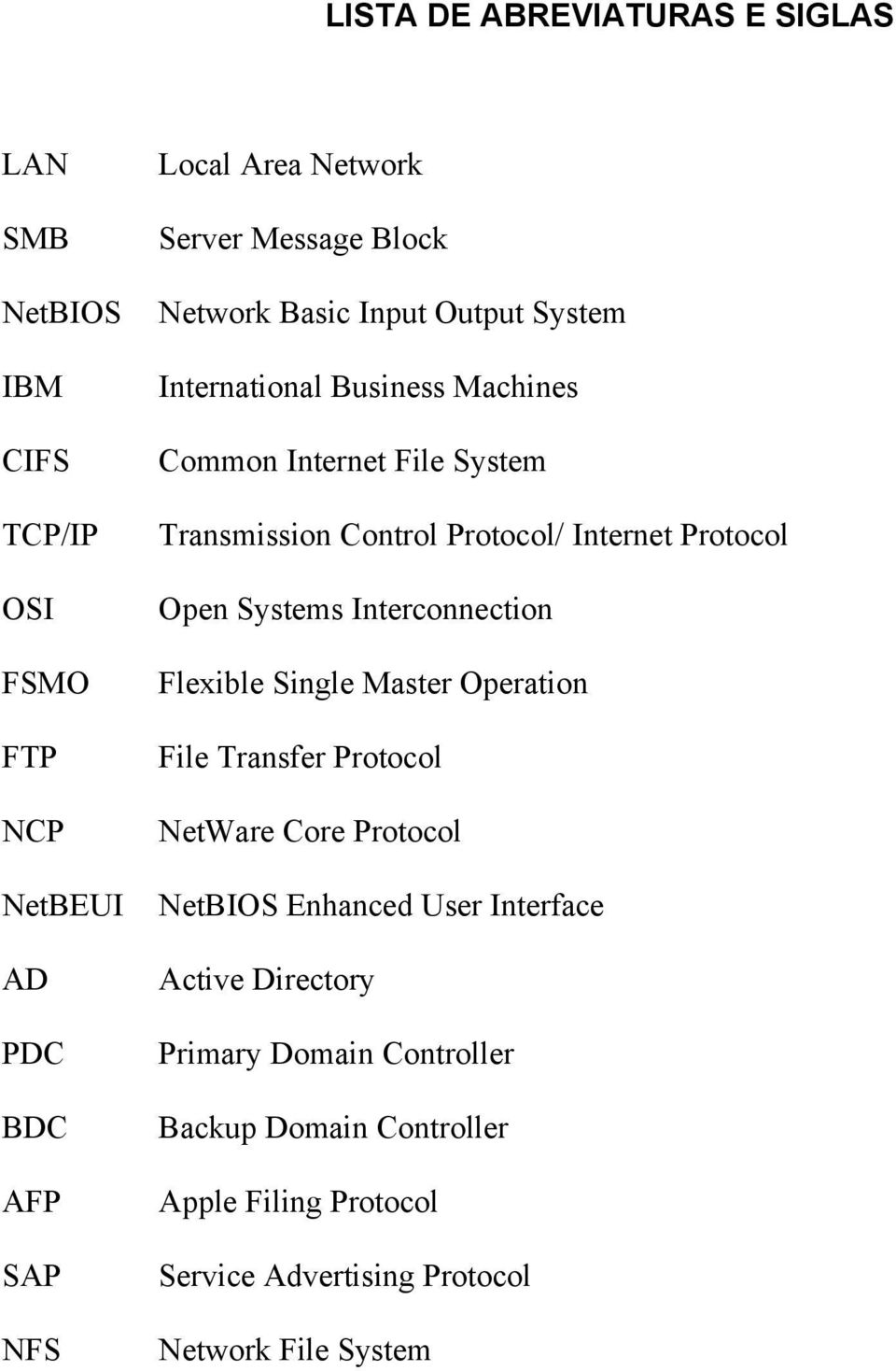 Internet Protocol Open Systems Interconnection Flexible Single Master Operation File Transfer Protocol NetWare Core Protocol NetBIOS Enhanced