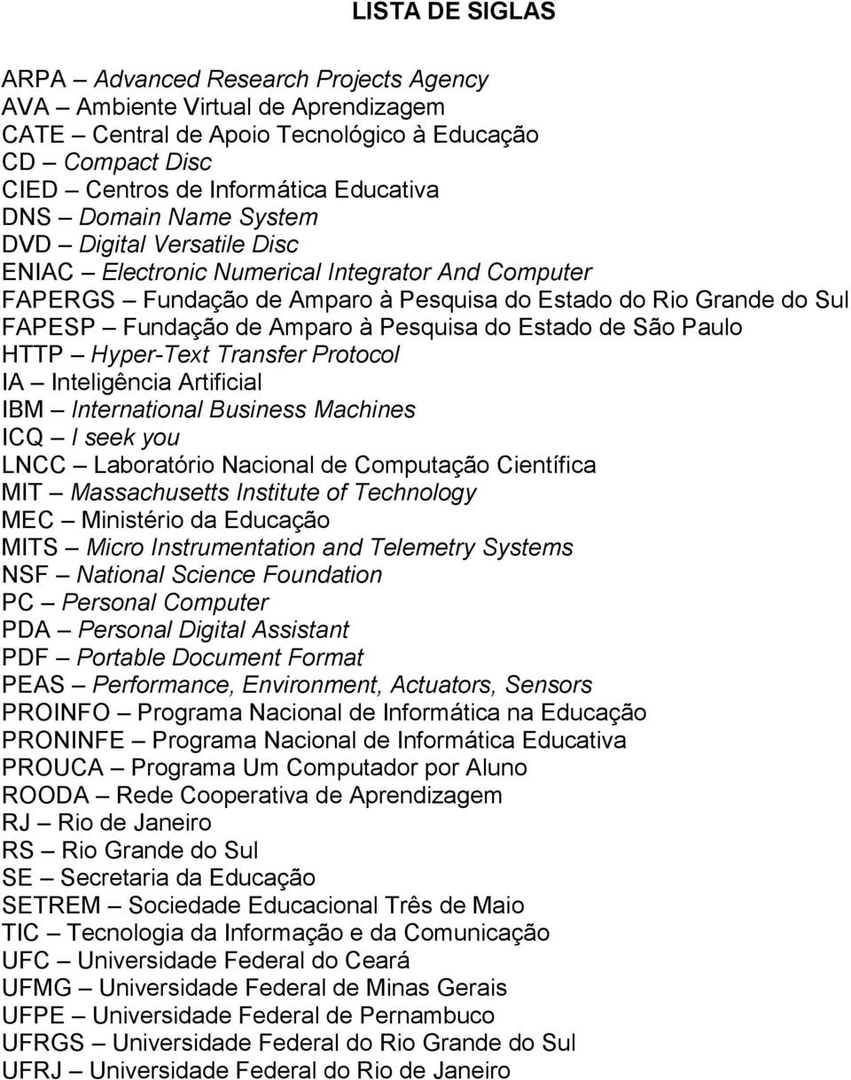 Pesquisa do Estado de São Paulo HTTP Hyper-Text Transfer Protocol IA Inteligência Artificial IBM International Business Machines ICQ I seek you LNCC Laboratório Nacional de Computação Científica MIT