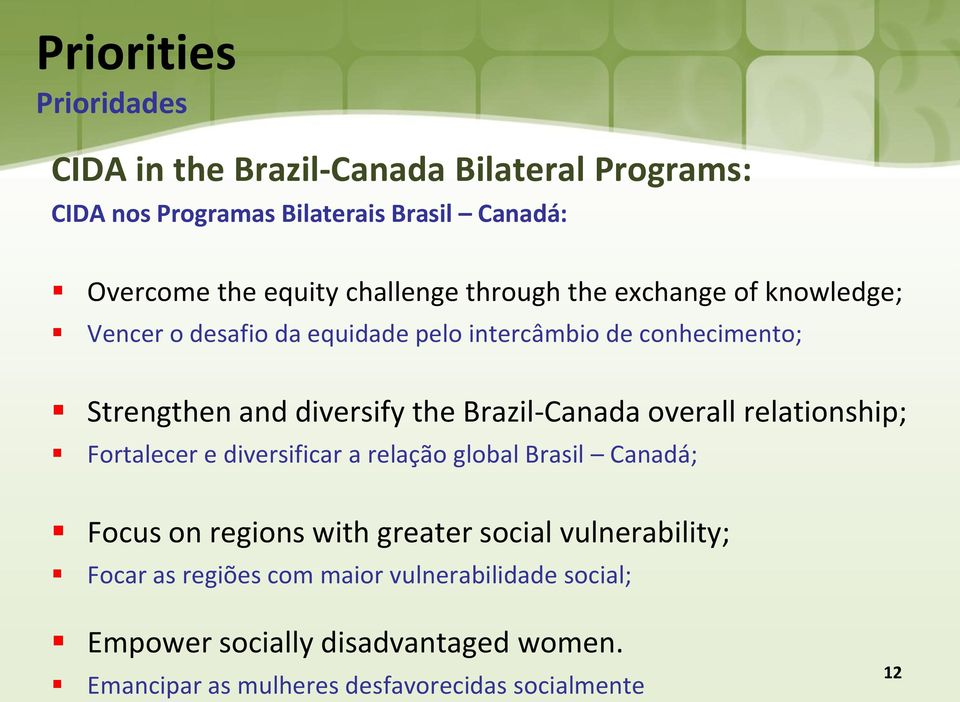 Brazil-Canada overall relationship; Fortalecer e diversificar a relação global Brasil Canadá; Focus on regions with greater social