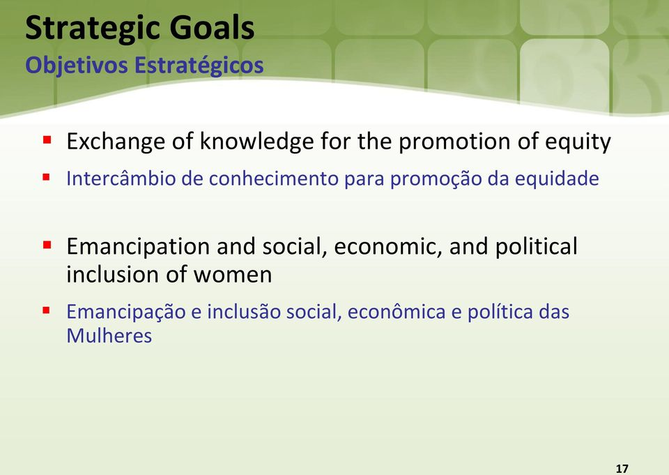 equidade Emancipation and social, economic, and political inclusion