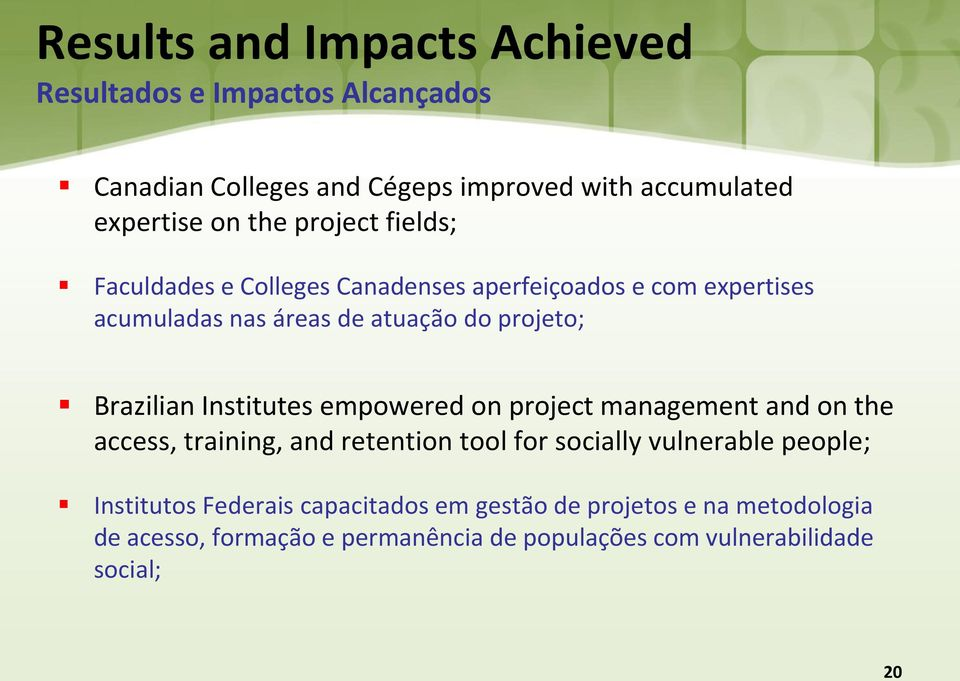 Institutes empowered on project management and on the access, training, and retention tool for socially vulnerable people; Institutos