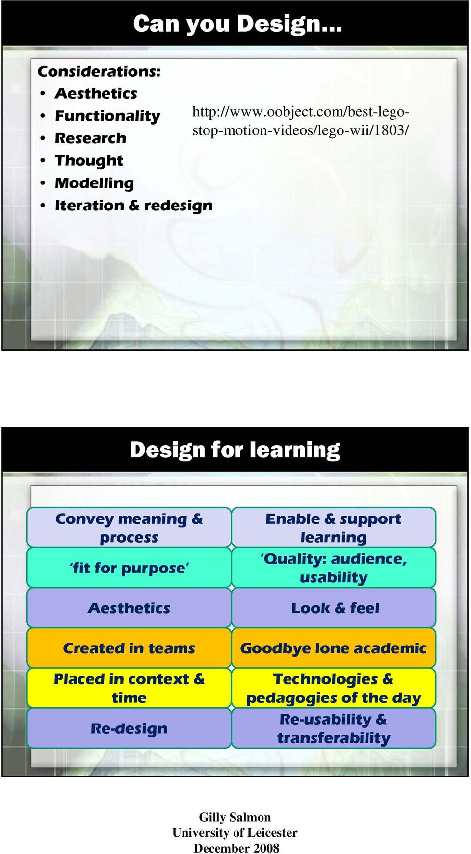 learning Convey meaning & process fit for purpose Aesthetics Created in teams Placed in context & time Re-design