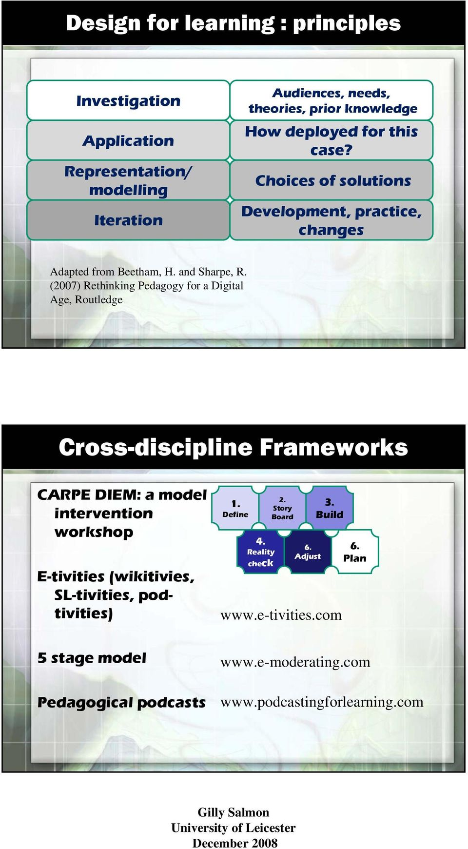 (2007) Rethinking Pedagogy for a Digital Age, Routledge Cross-discipline Frameworks CARPE DIEM: a model intervention workshop E-tivities (wikitivies,