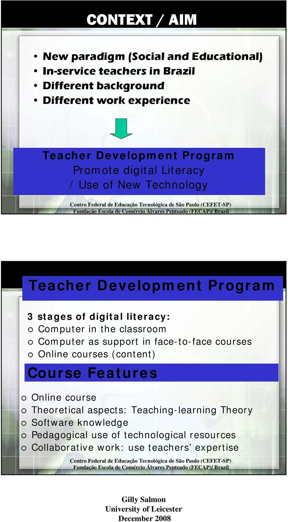 Computer in the classroom Computer as support in face-to-face courses Online courses (content) Course Features Online course Theoretical aspects: Teaching-learning Theory Software knowledge