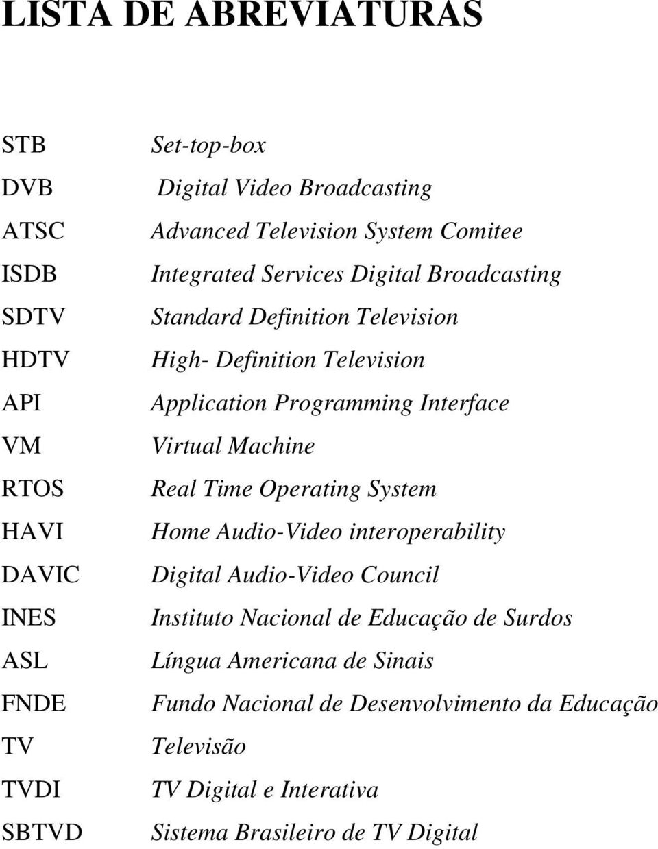 Programming Interface Virtual Machine Real Time Operating System Home Audio-Video interoperability Digital Audio-Video Council Instituto Nacional de