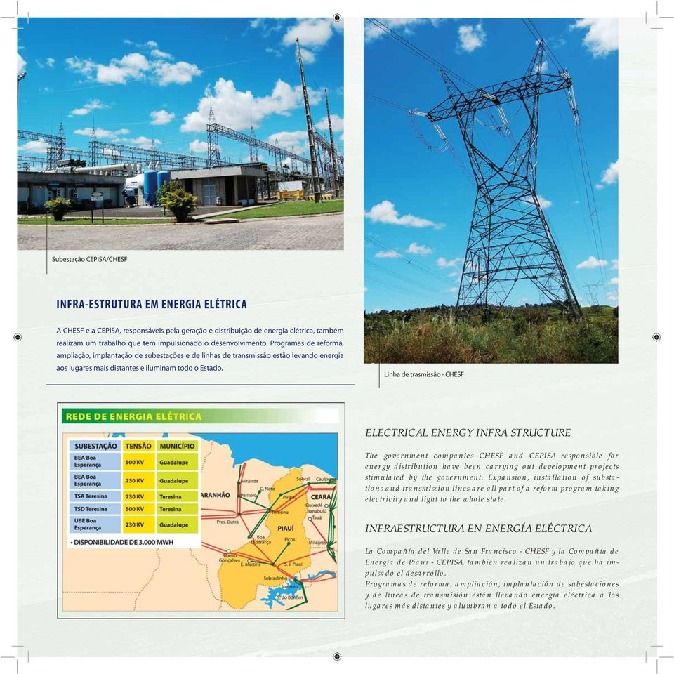 Linha de trasmissão - CHESF ELECTRICAL ENERGY INFRA STRUCTURE The government companies CHESF and CEPISA responsible for energy distribution have been carrying out development projects stimulated by