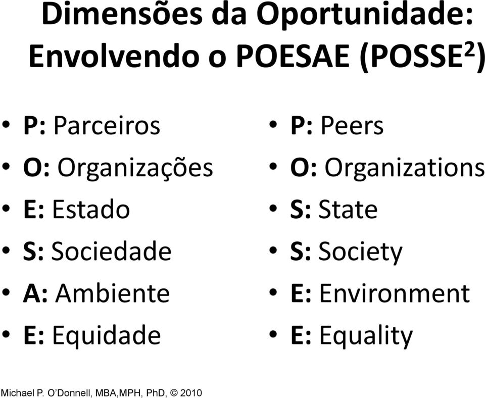 E: Equidade P: Peers O:Organizations S: State S: Society