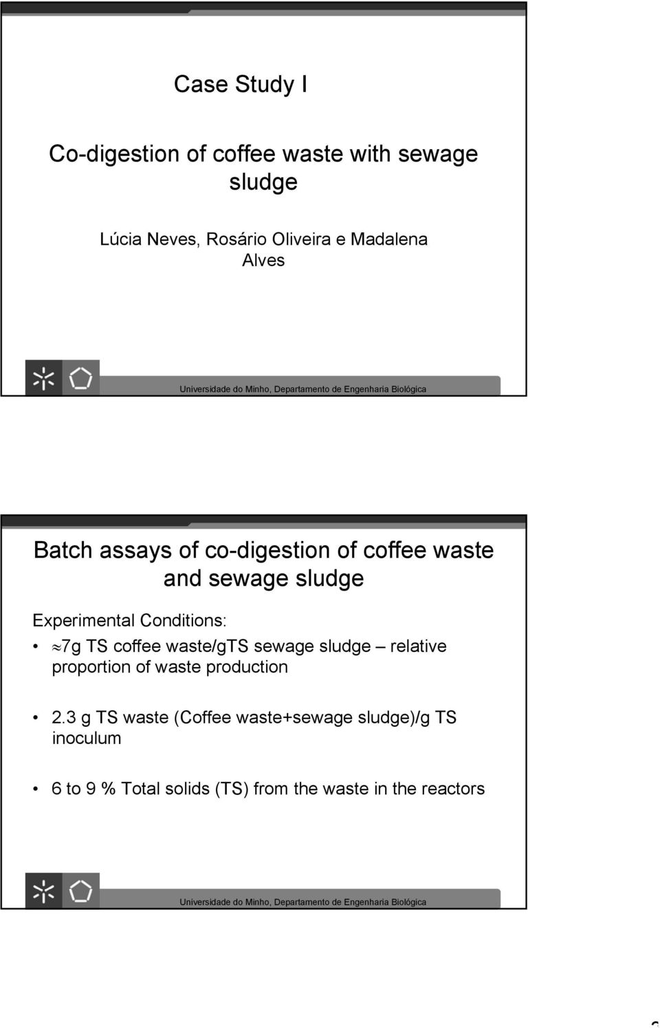 Conditions: 7g TS coffee waste/gts sewage sludge relative proportion of waste production 2.
