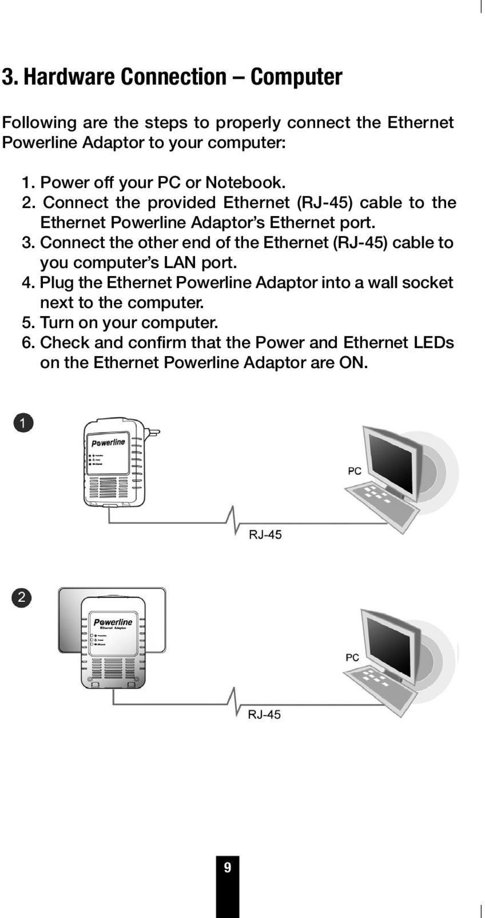 Connect the other end of the Ethernet (RJ-45) cable to you computer s LAN port. 4.