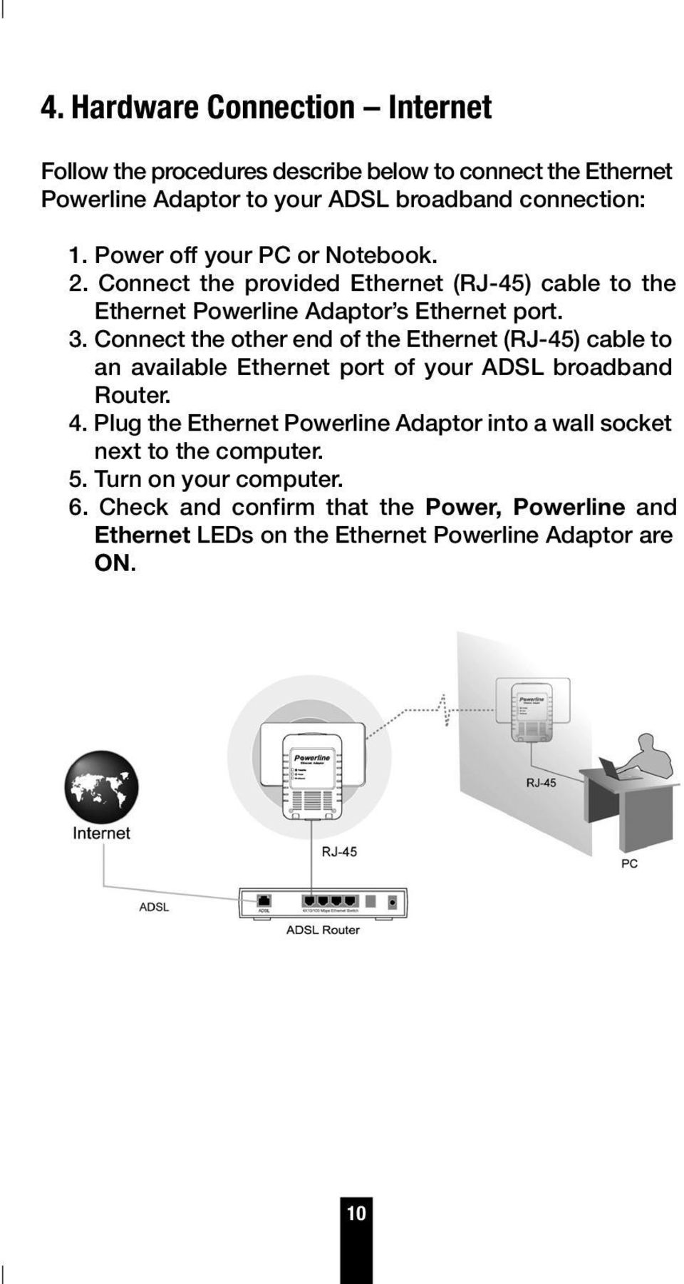 Connect the other end of the Ethernet (RJ-45) cable to an available Ethernet port of your ADSL broadband Router. 4.