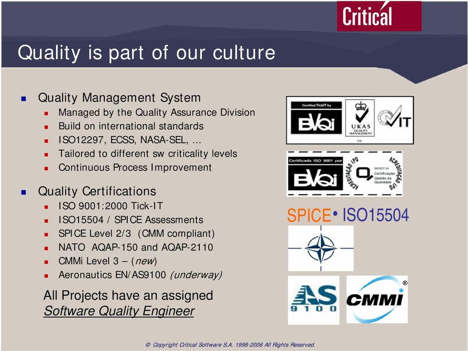 .. Tailored to different sw criticality levels Continuous Process Improvement Quality Certifications ISO 9001:2000 Tick-IT