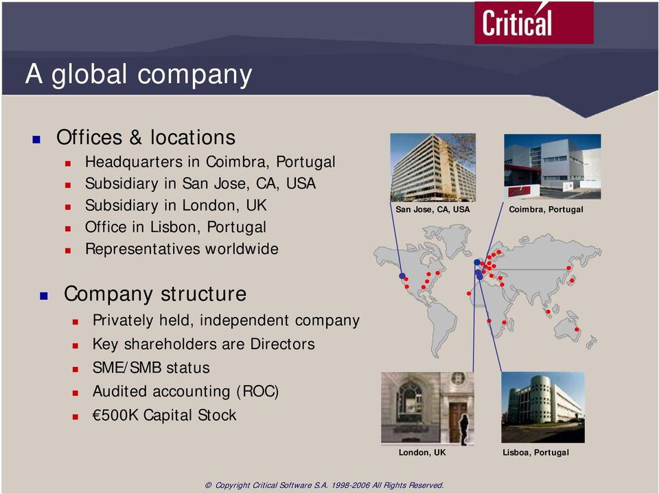 structure Privately held, independent company Key shareholders are Directors SME/SMB status