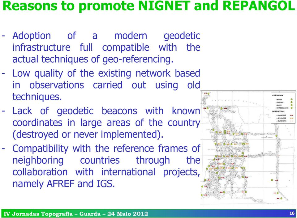 - Lack of geodetic beacons with known coordinates in large areas of the country (destroyed or never implemented).