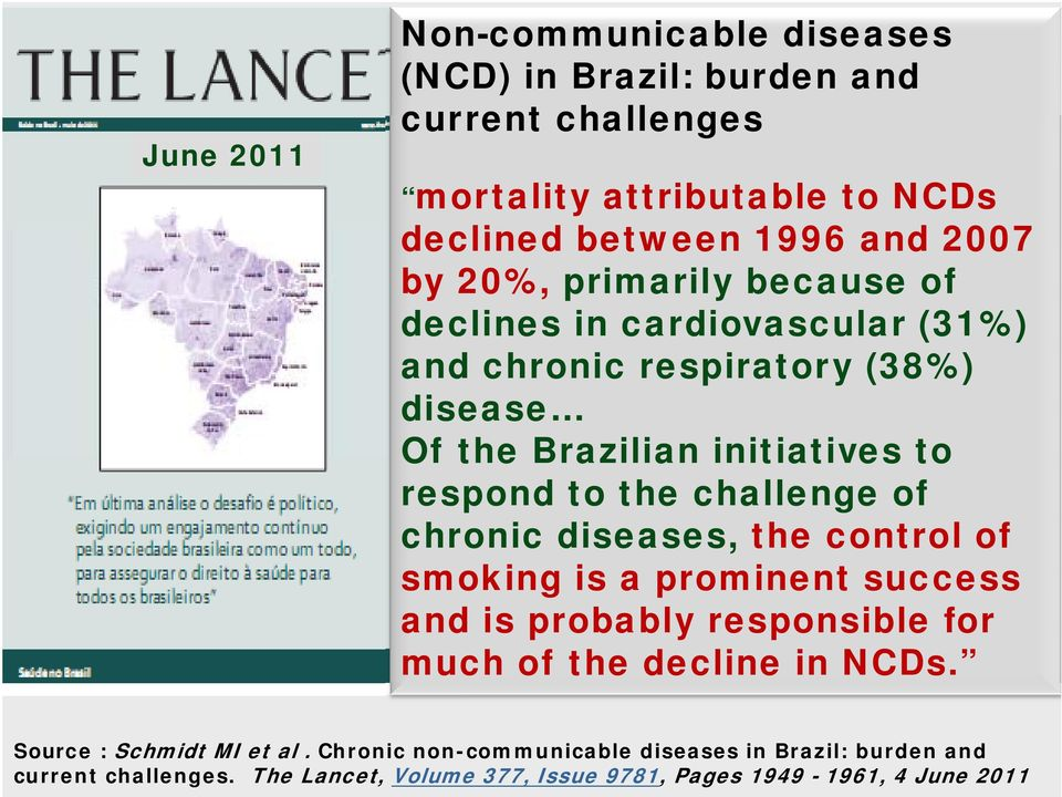 challenge of chronic diseases, the control of smoking is a prominent success and is probably responsible for much of the decline in NCDs.