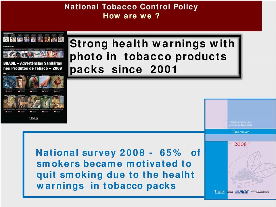 packs since 2001 National survey 2008-65% of smokers
