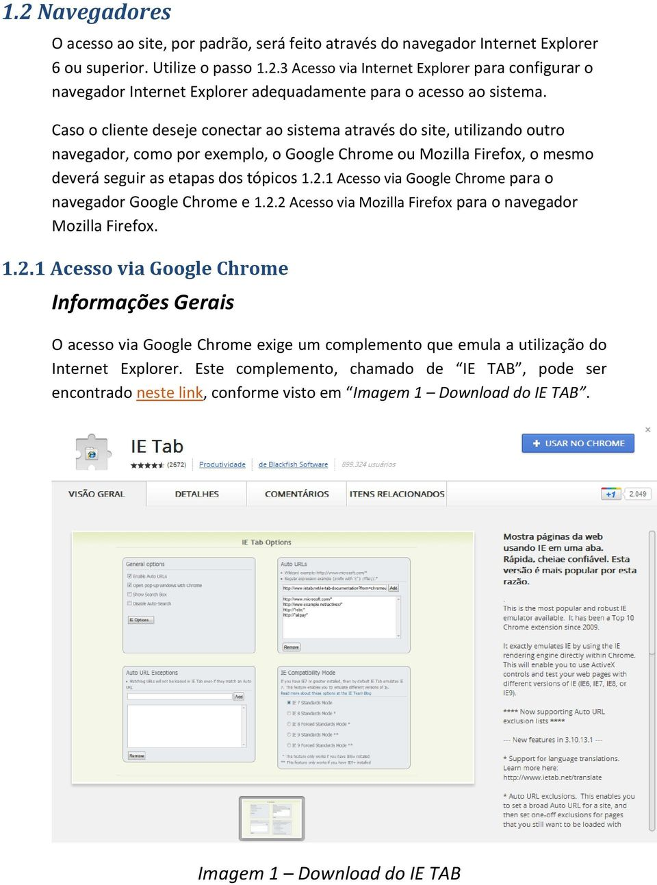 1 Acesso via Google Chrome para o navegador Google Chrome e 1.2.