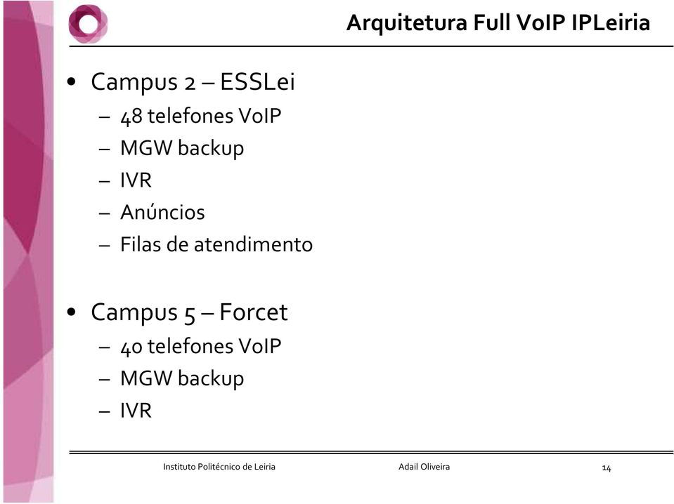 atendimento Campus 5 Forcet 40 telefones VoIP MGW