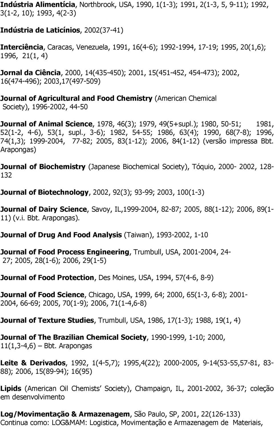 (American Chemical Society), 1996-2002, 44-50 Journal of Animal Science, 1978, 46(3); 1979, 49(5+supl.); 1980, 50-51; 1981, 52(1-2, 4-6), 53(1, supl.