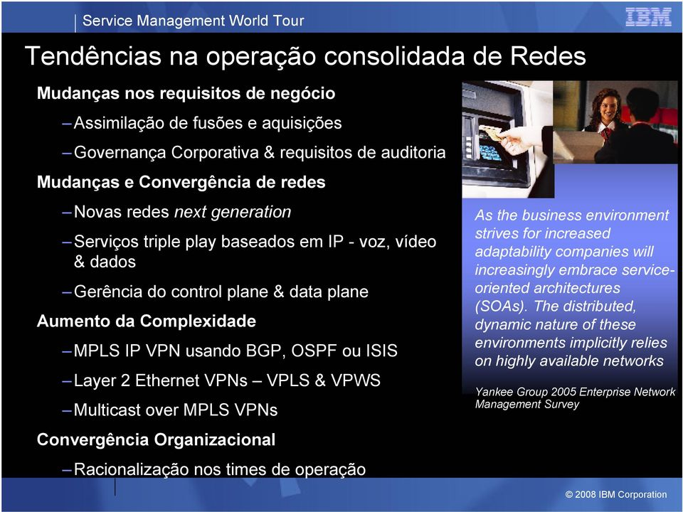 Ethernet VPNs VPLS & VPWS Multicast over MPLS VPNs Convergência Organizacional Racionalização nos times de operação As the business environment strives for increased adaptability companies will