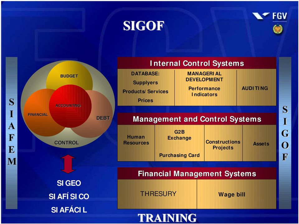 DEVELOPMENT Performance Indicators AUDITING Management and Control Systems Human Resources Constructions