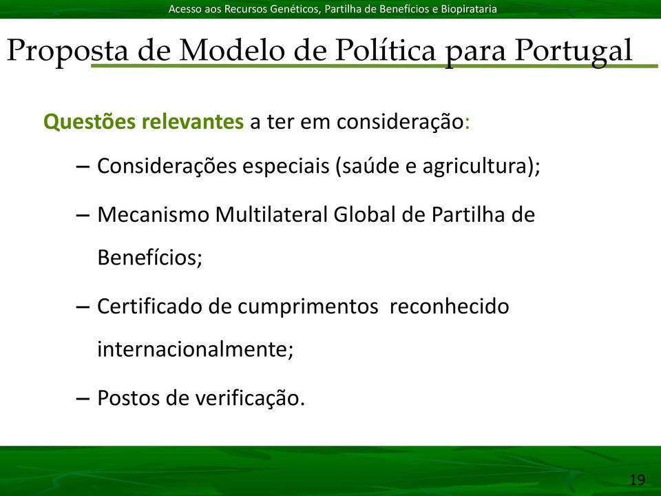Mecanismo Multilateral Global de Partilha de Benefícios; Certificado