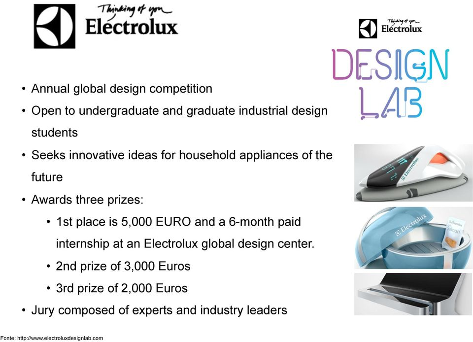 and a 6-month paid internship at an Electrolux global design center.