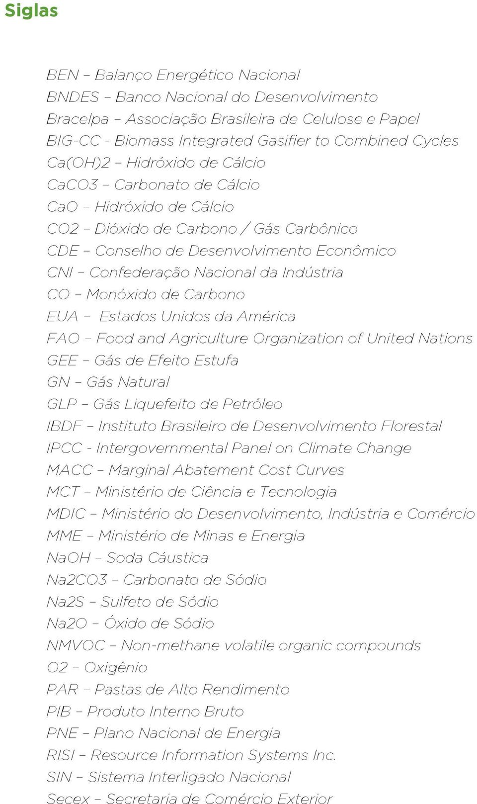 Monóxido de Carbono EUA Estados Unidos da América FAO Food and Agriculture Organization of United Nations GEE Gás de Efeito Estufa GN Gás Natural GLP Gás Liquefeito de Petróleo IBDF Instituto