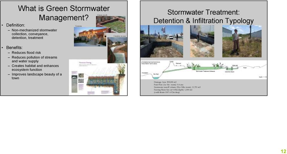 and water supply Creates habitat and enhances ecosystem function Improves landscape beauty of a town Cisterns Creative re-use Stormwater