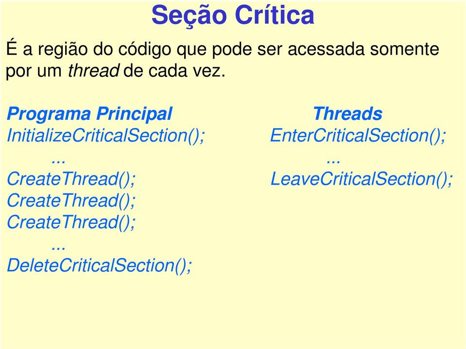 Programa Principal Threads InitializeCriticalSection();