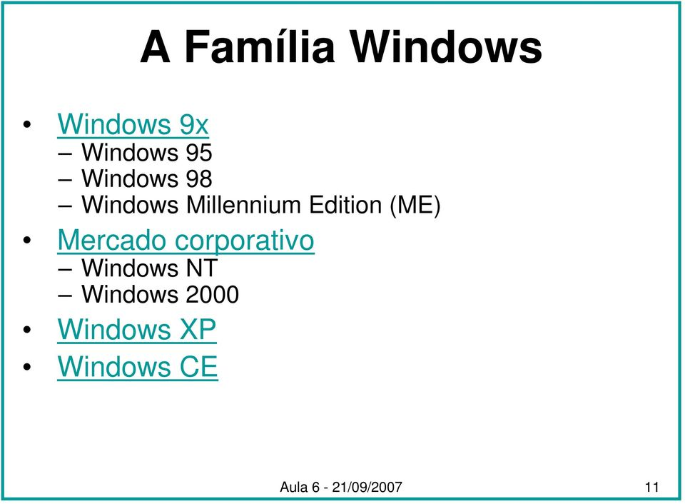Mercado corporativo Windows NT Windows