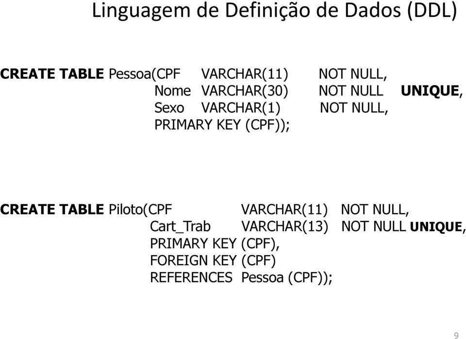 TABLE Piloto(CPF VARCHAR(11) NOT NULL, Cart_Trab VARCHAR(13) NOT