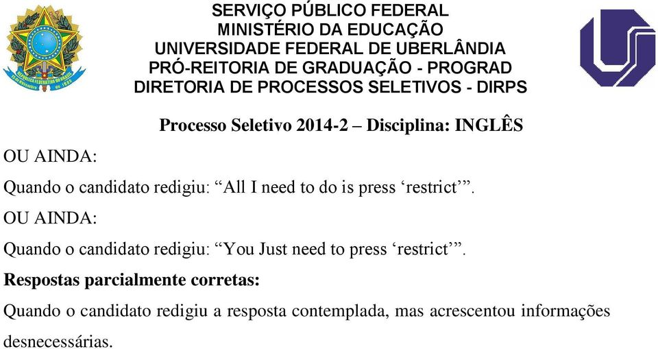 Quando o candidato redigiu: You Just need to press restrict.