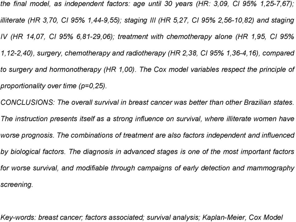 The Cox model variables respect the principle of proportionality over time (p=0,25). CONCLUSIONS: The overall survival in breast cancer was better than other Brazilian states.