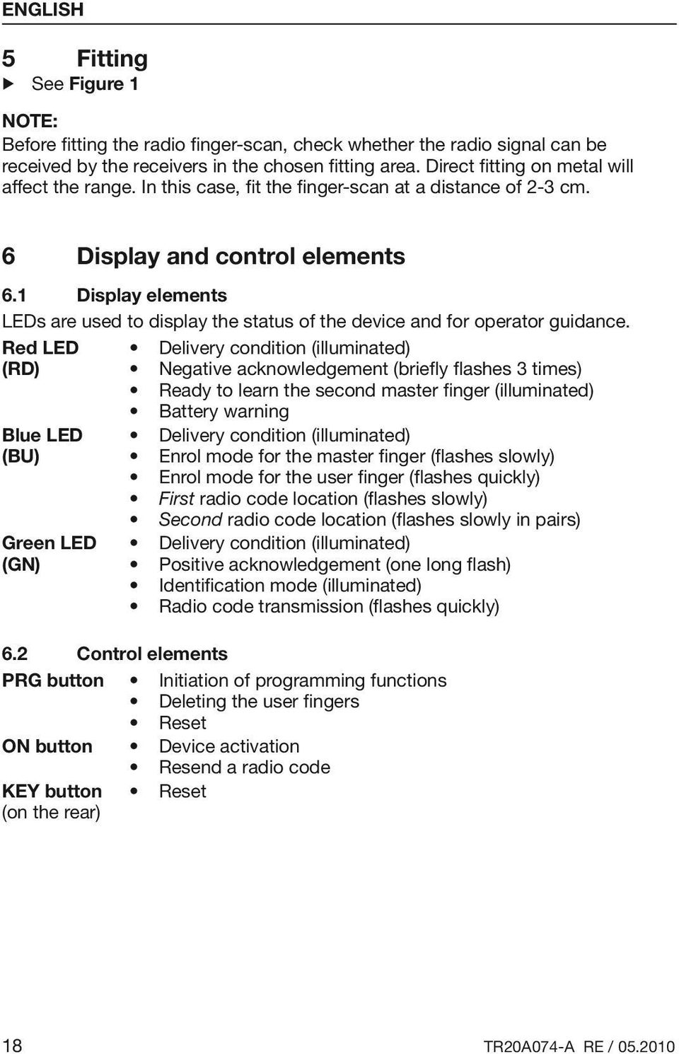 1 Display elements LEDs are used to display the status of the device and for operator guidance.
