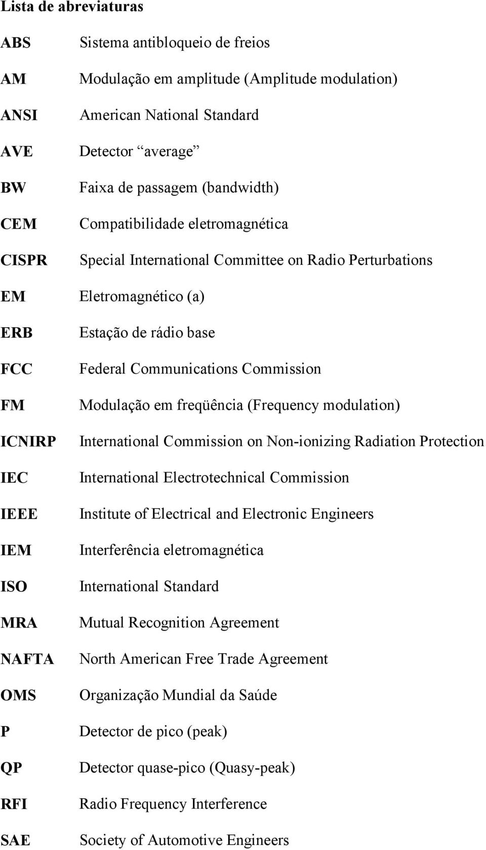 base Federal Communications Commission Modulação em freqüência (Frequency modulation) International Commission on Non-ionizing Radiation Protection International Electrotechnical Commission Institute