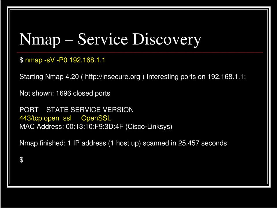 2.168.1.1: Not shown: 1696 closed ports PORT STATE SERVICE VERSION 443/tcp open