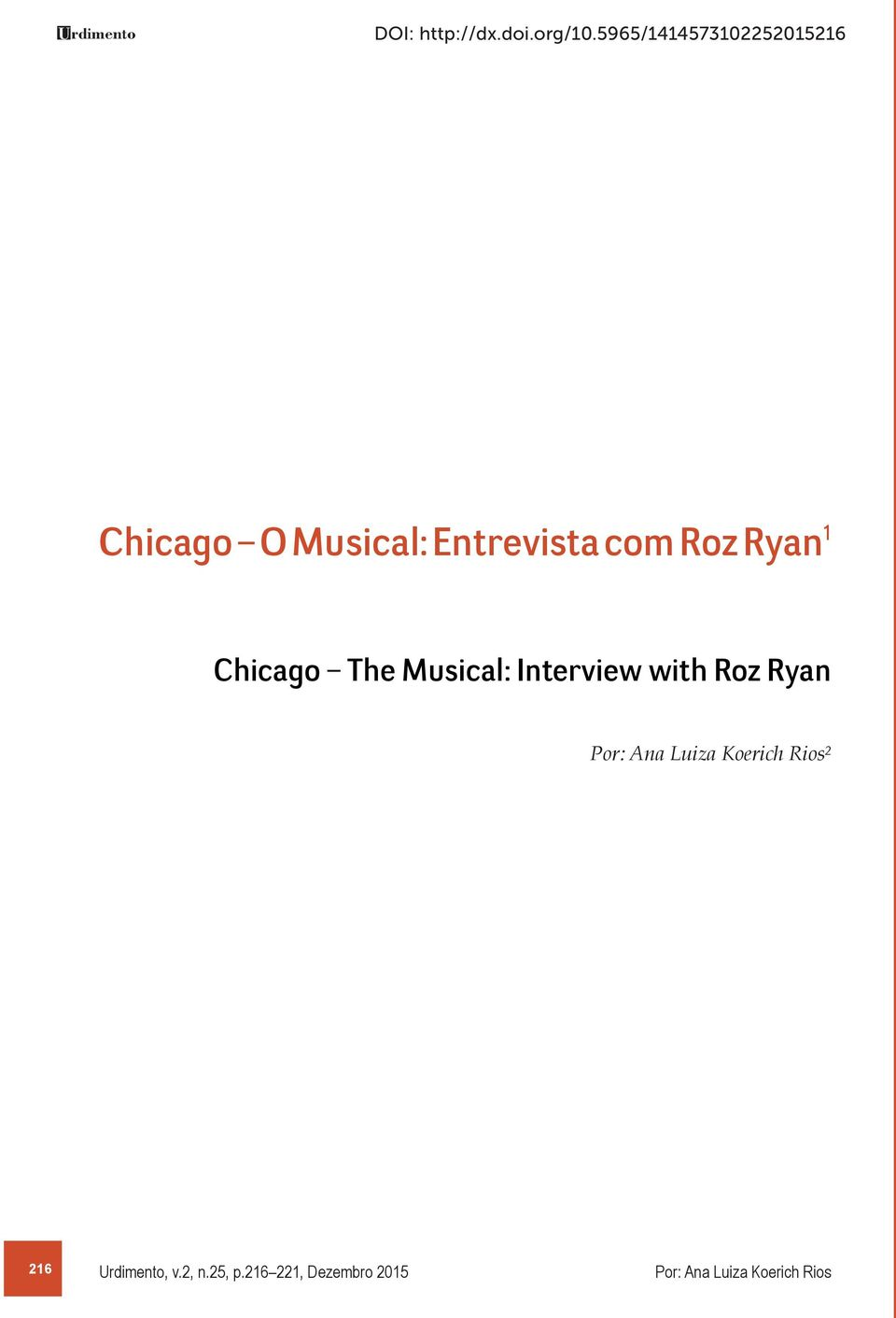 Roz Ryan¹ Chicago The Musical: Interview with Roz Ryan Por: