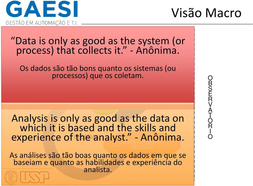 DADOS TECNOLOGIAS INFO Analysis is only as good as the data on which it is based and the skills and experience