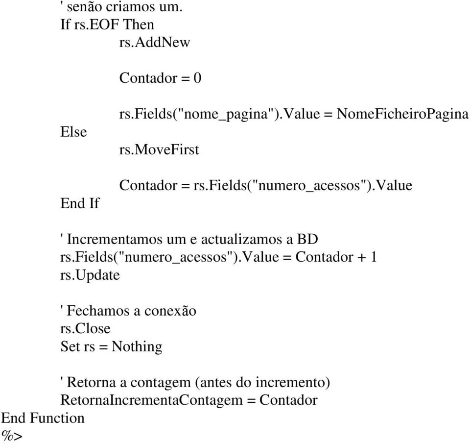 "value ' Incrementamos um e actualizamos a BD rs.fields(""numero_acessos"").value = Contador + 1 rs."