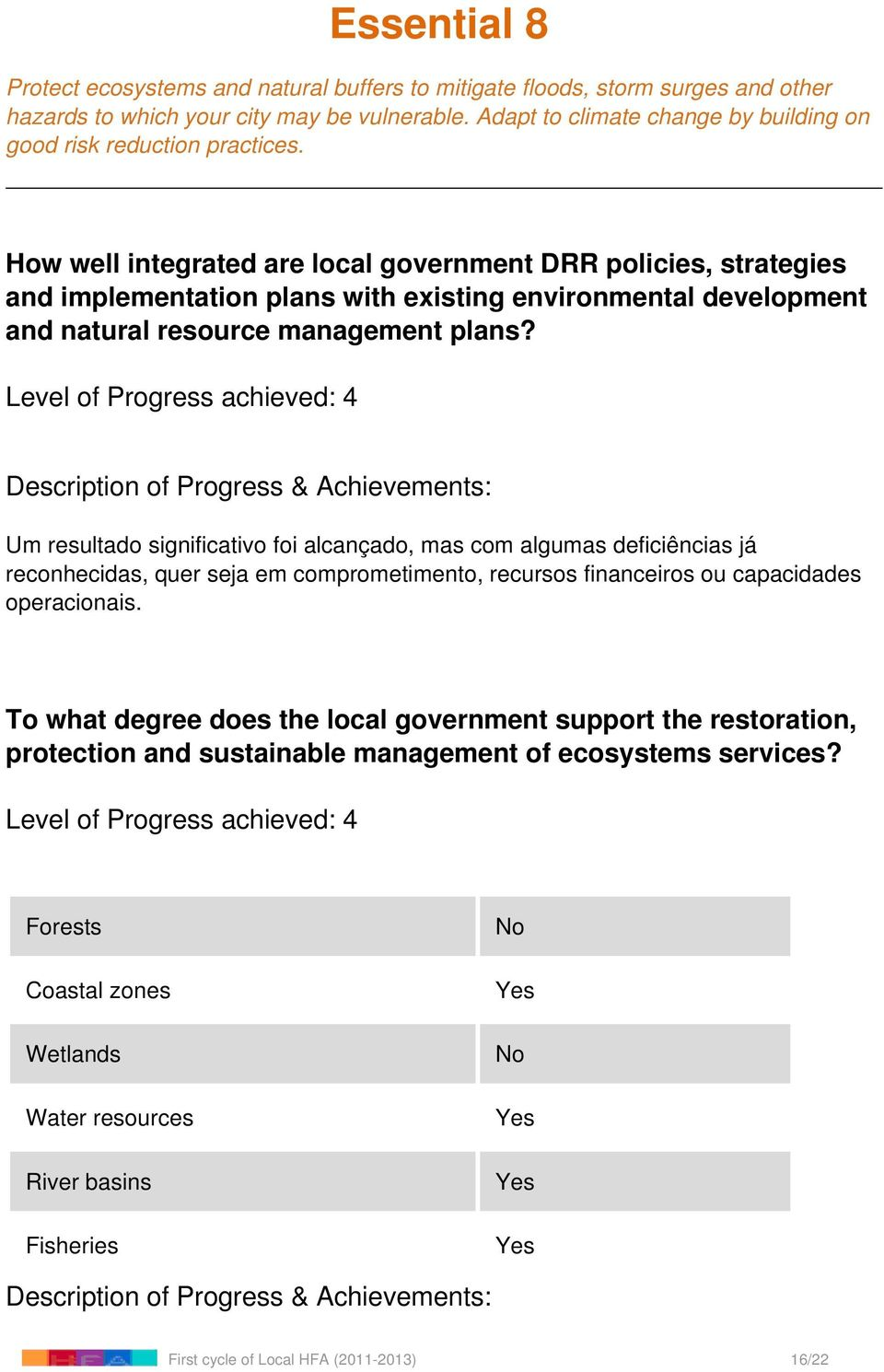 How well integrated are local government DRR policies, strategies and implementation plans with existing environmental development and natural resource
