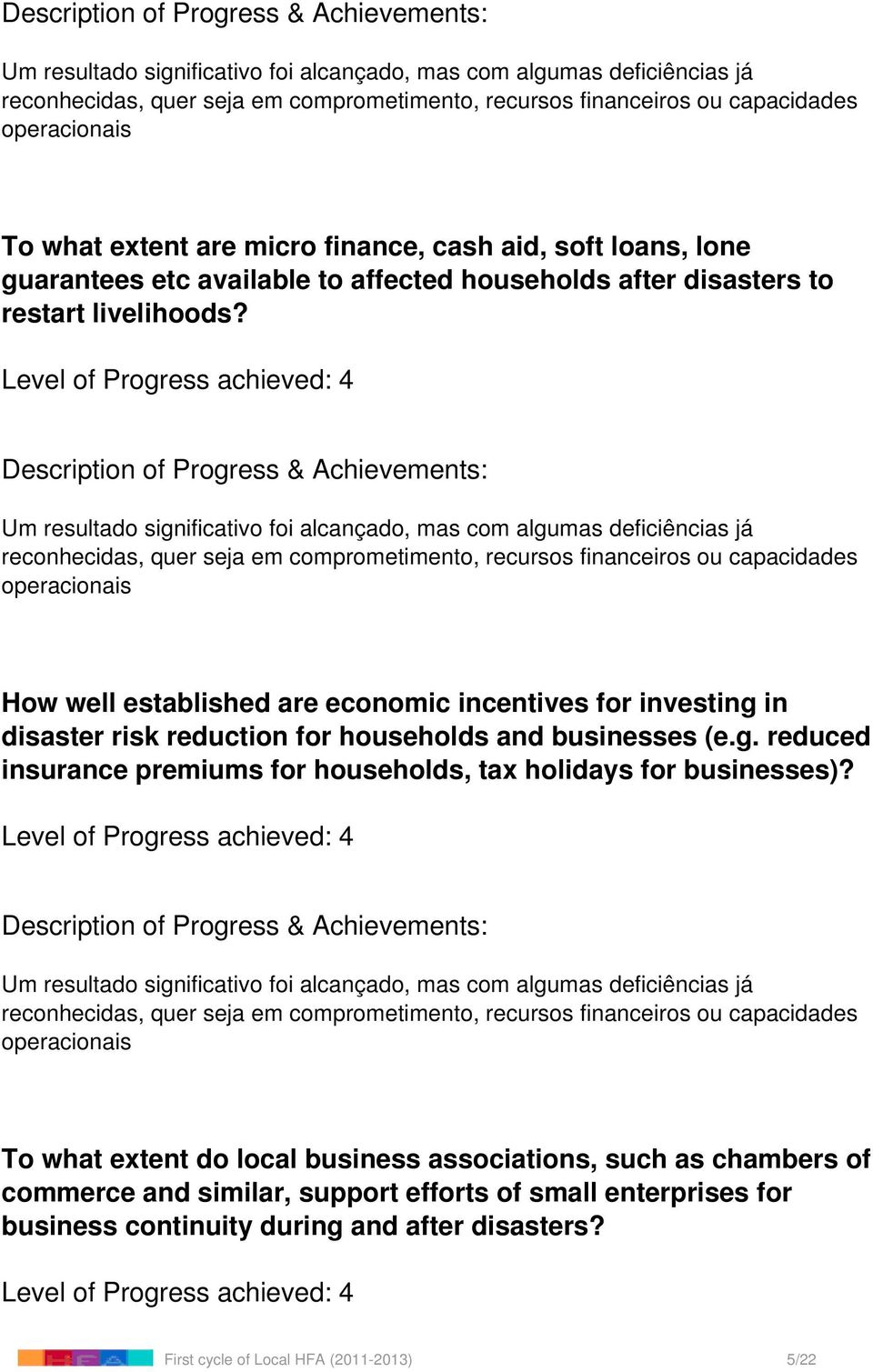in disaster risk reduction for households and businesses (e.g. reduced insurance premiums for households, tax holidays for businesses)?