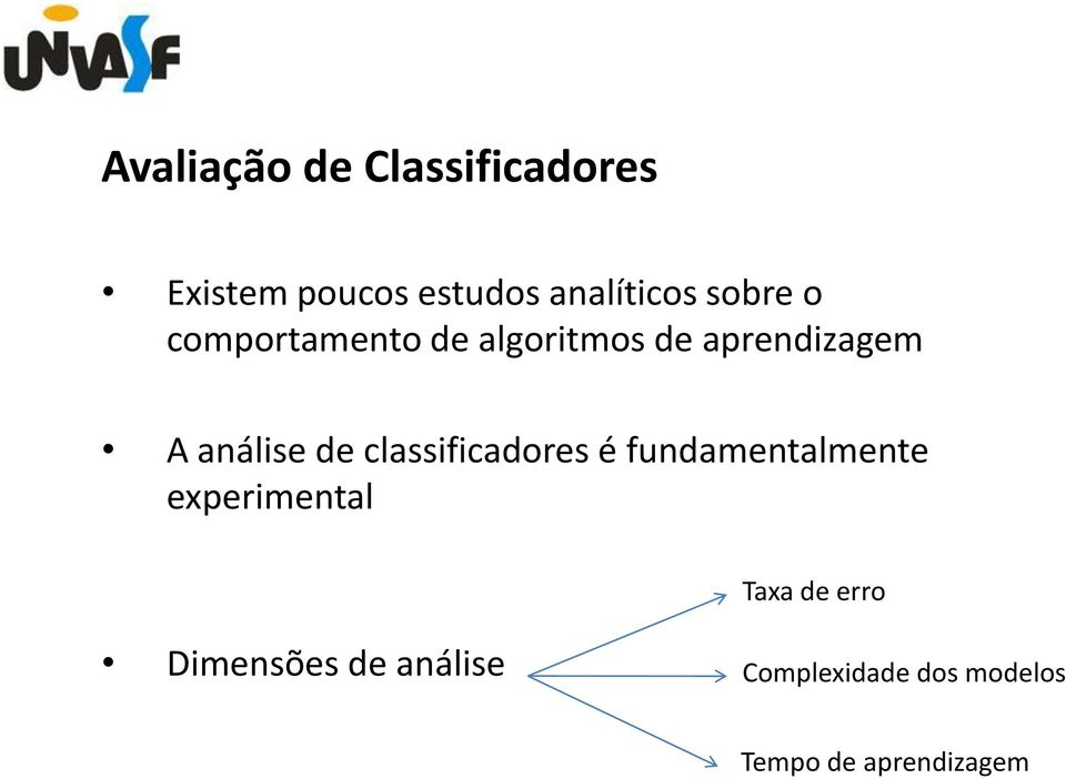 de classificadores é fundamentalmente experimental Taxa de erro
