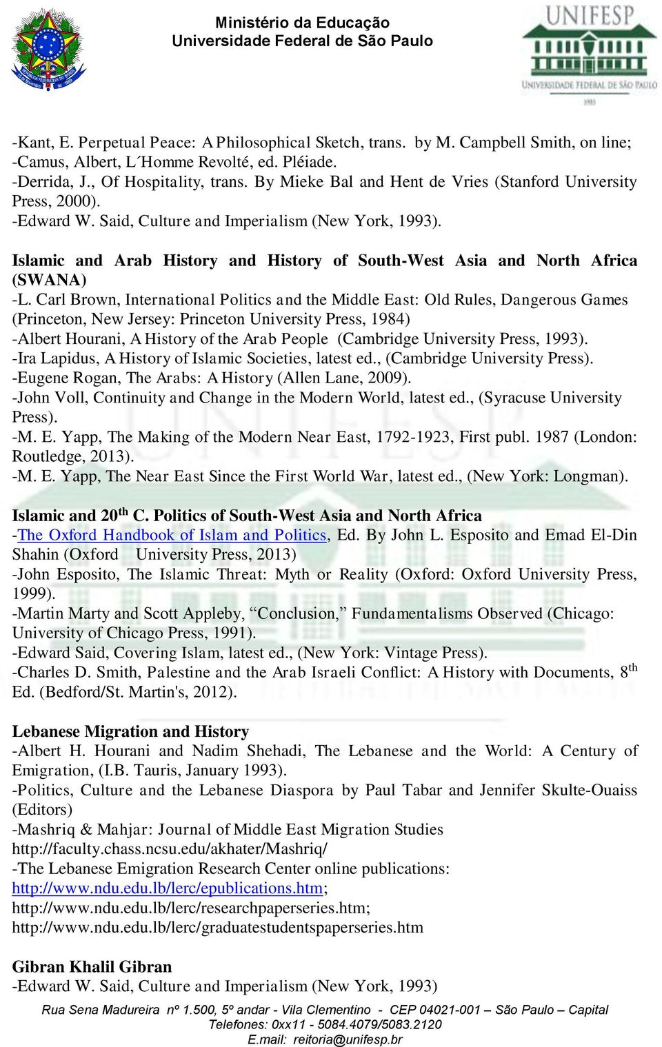 Islamic and Arab History and History of South-West Asia and North Africa (SWANA) -L.
