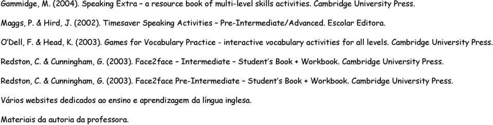 Games for Vocabulary Practice - interactive vocabulary activities for all levels. Cambridge University Press. Redston, C. & Cunningham, G. (2003).