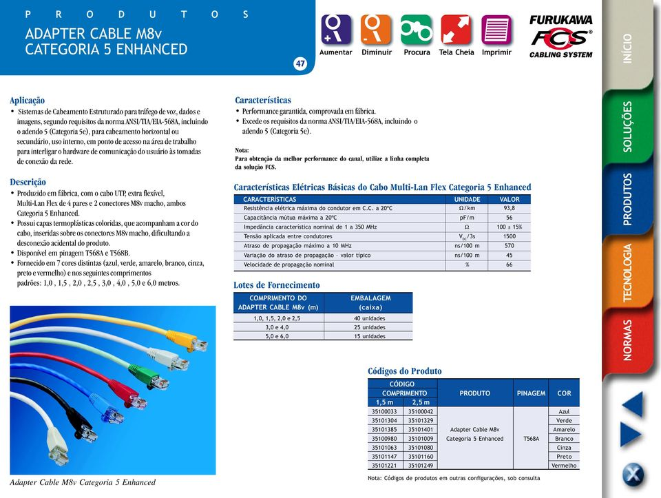 Produzido em fábrica, com o cabo UTP, extra flexível, Multi-Lan Flex de 4 pares e 2 conectores M8v macho, ambos Categoria 5 Enhanced.