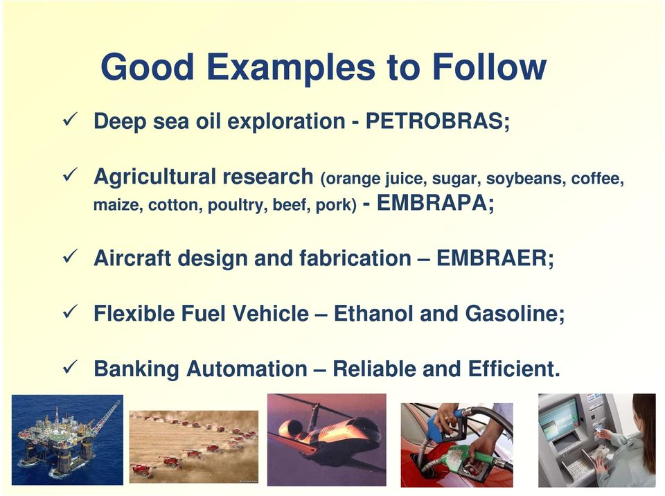 beef, pork) - EMBRAPA; Aircraft design and fabrication EMBRAER; Flexible