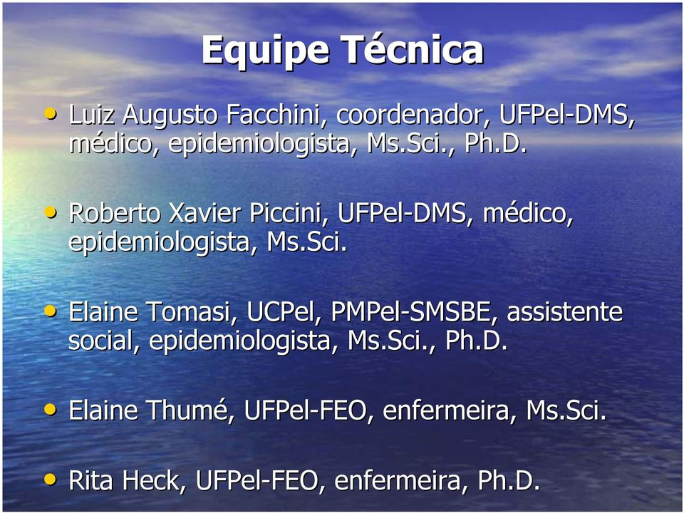 Sci Sci. Elaine Tomasi, UCPel, PMPel-SMSBE, assistente social, epidemiologista, Ms.
