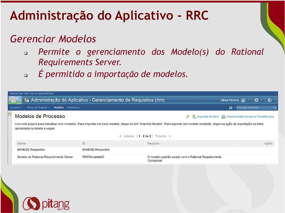 gerenciamento dos Modelo(s) do Rational