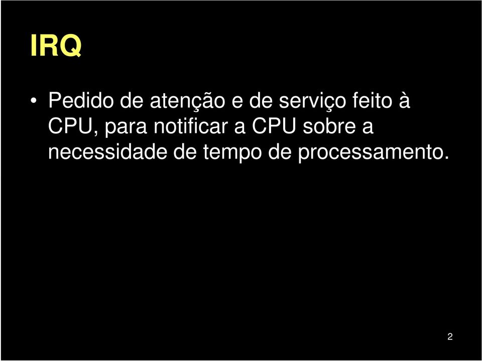 notificar a CPU sobre a
