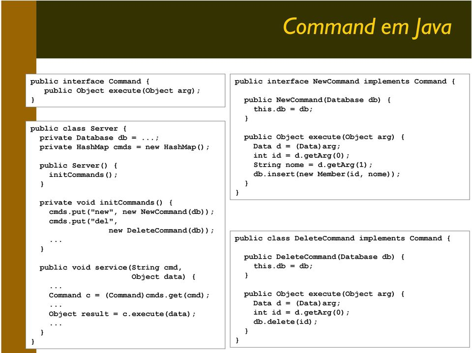 .. public void service(string cmd, Object data) {... Command c = (Command)cmds.get(cmd);... Object result = c.execute(data);.